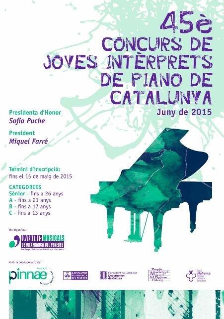 Aquests dies es celebra el 45è Concurs de Joves Intèrprets de Piano de Catalunya 2015