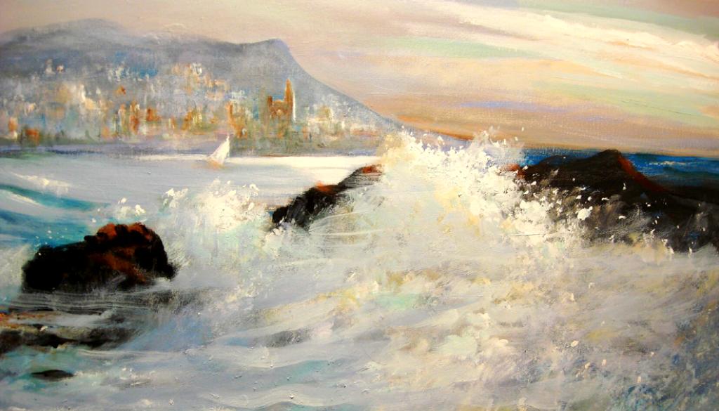 """M. Antònia Soler exposa les seves pintures """"Marines – Aigua en moviment"""" al Fòrum Berger Balaguer"""