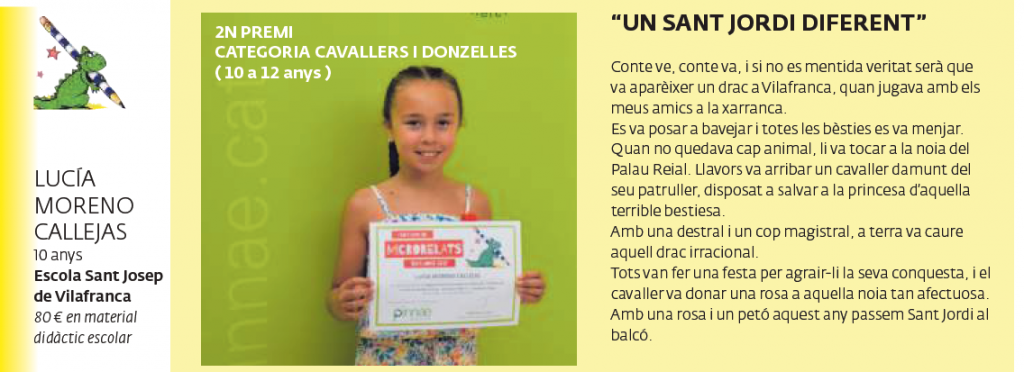 2n premi CATEGORIA CAVALLERS I DONZELLES (10 a 12 anys)