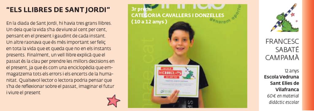 3r premi CATEGORIA CAVALLERS I DONZELLES (10 a 12 anys)
