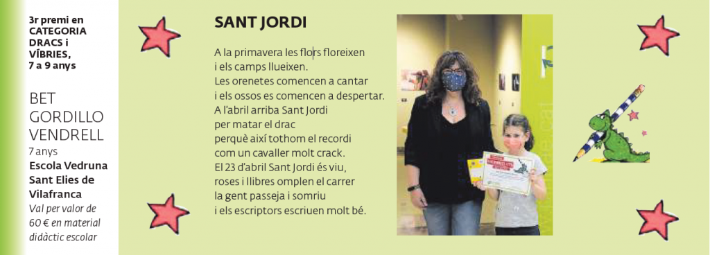 3r premi CATEGORIA DRACS I VÍBRIES (7 a 9 anys)