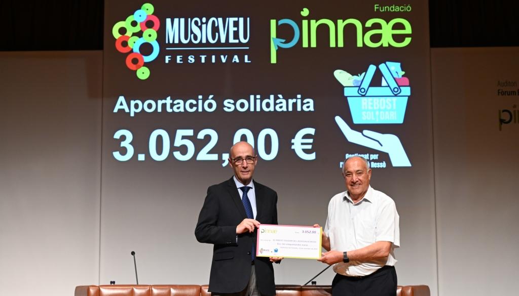 El Festival MUSiCVEU de la Fundació Pinnae lliura 3.052,00€ solidaris al Rebost Solidari de l'Associació Ressò